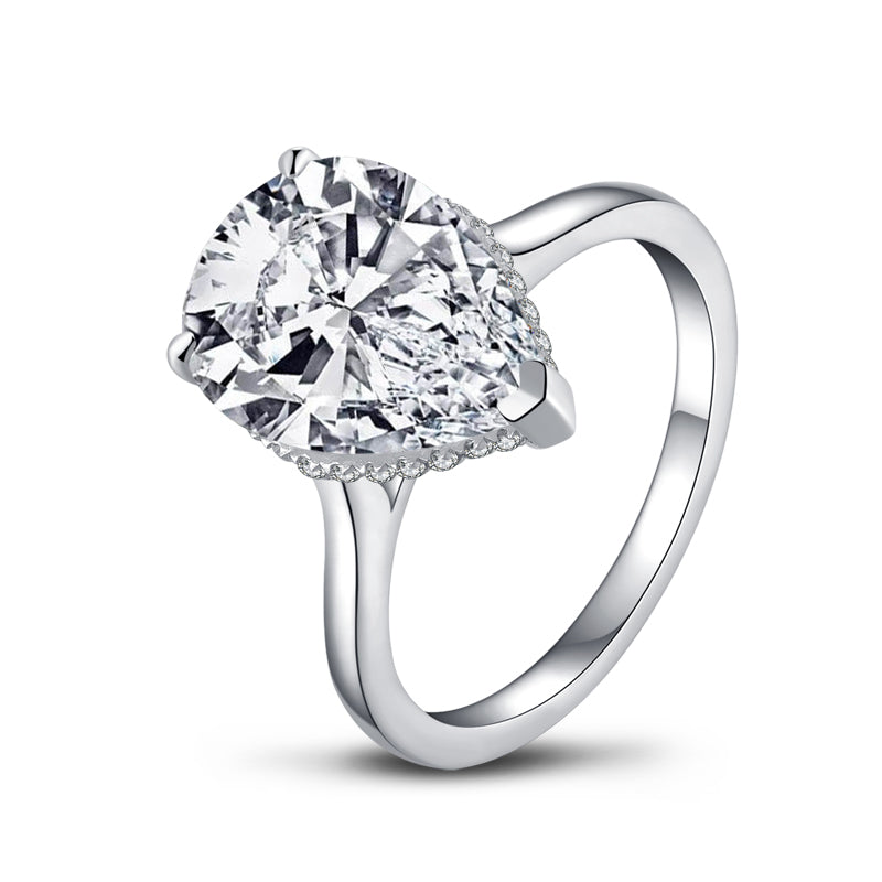 Pear Cut Moissanite Diamond Ring