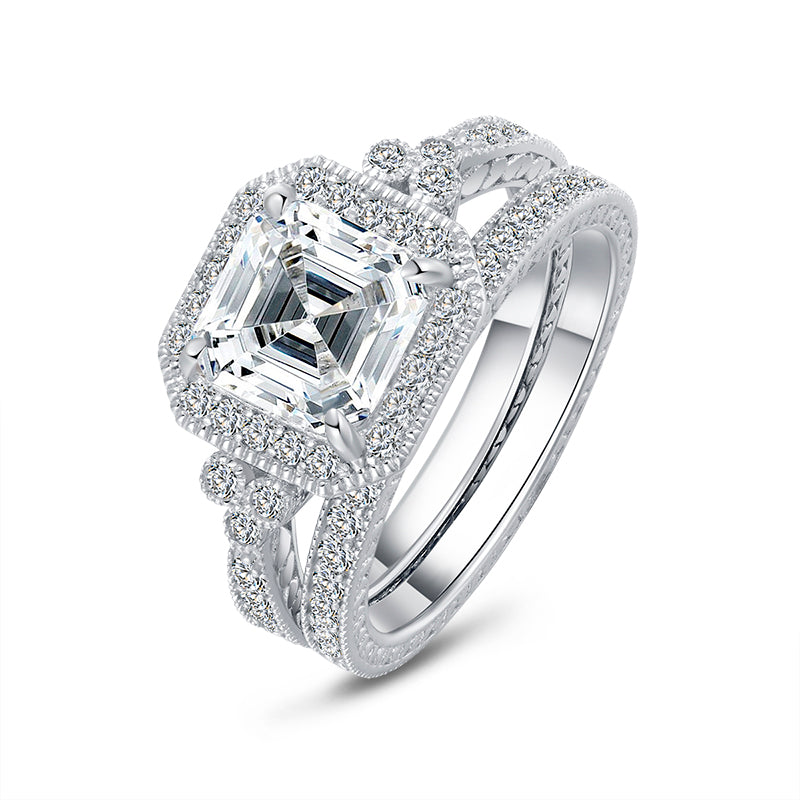 Asscher Created White Diamond Ring Set