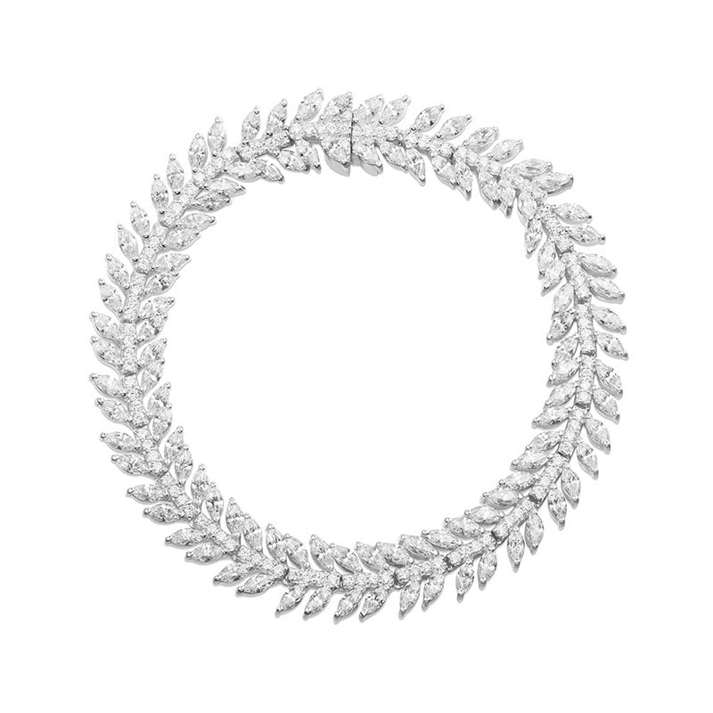 Marquise Created White Diamond Olive Leaf Bracelet