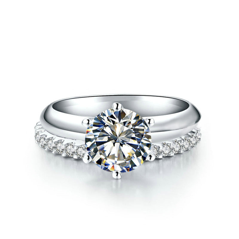 Classic Eternity Round Created White Diamond Bridal Ring Set