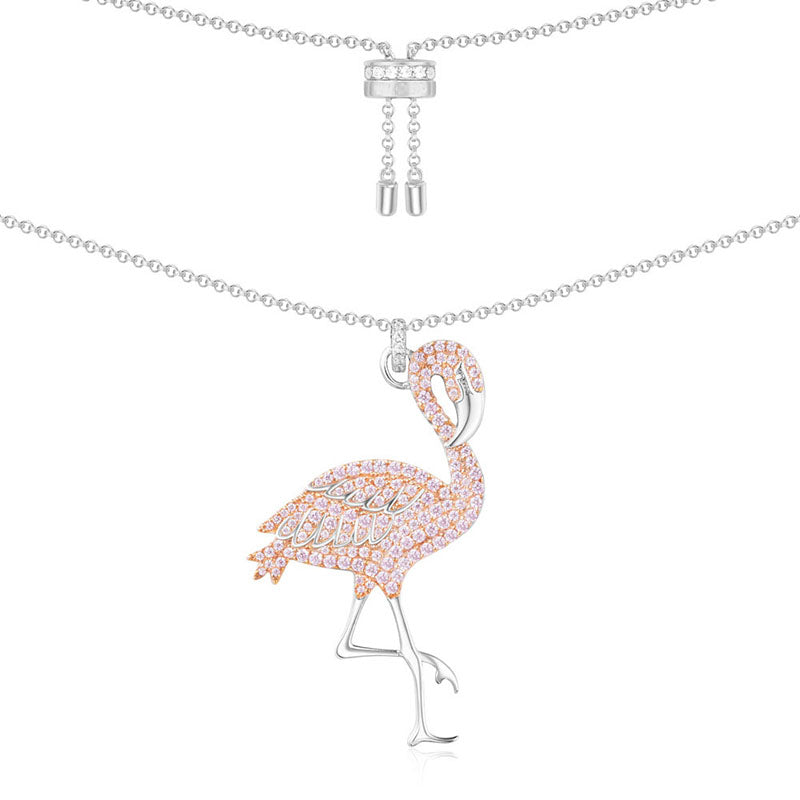 Fashion Big Pink Flamingo Pendant Sterling Silver Necklace