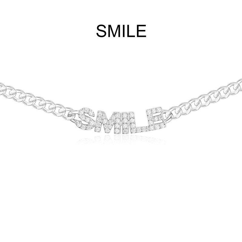White Striking Words  Sterling Silver Necklace