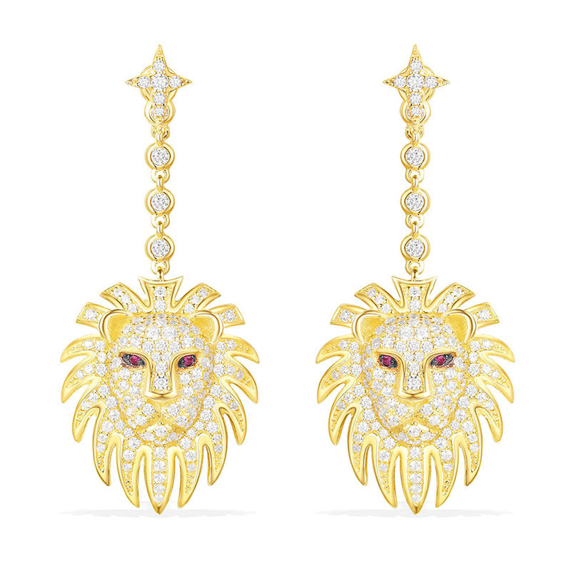 Lion Face Created Diamond Dangle Stud Earring