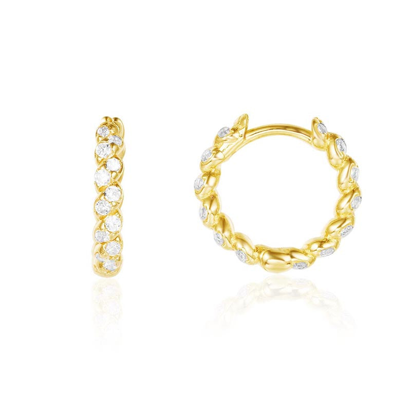 Huggie Hoop Earrings Created White Diamond Yellow Gold Plated Sterling Silver Cuff Earrings