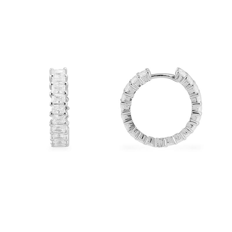 Sterling Silver Huggie Hoop Earrings Small Created White Diamond Cuff Earrings for Women Girls