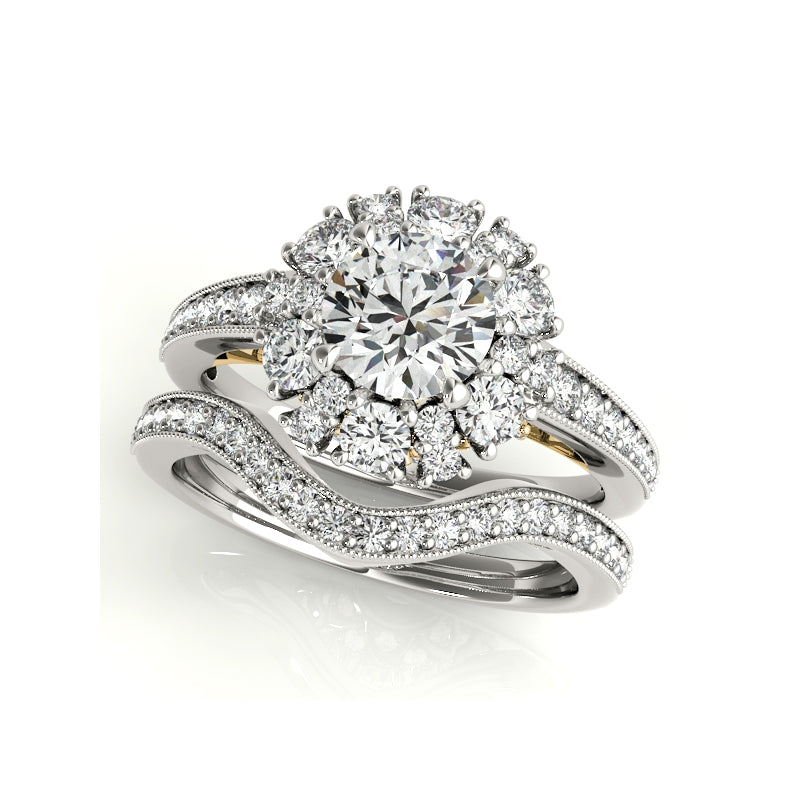 Floral Design Halo Created Diamond Ring Bridal Set
