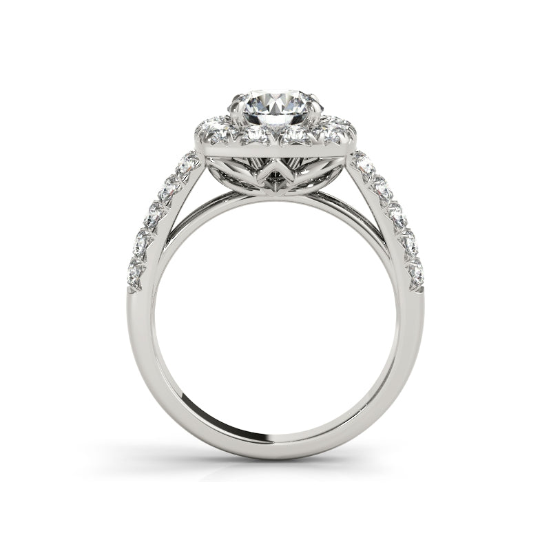 Halo Round Cut Created White Diamond Bridal Ring Set