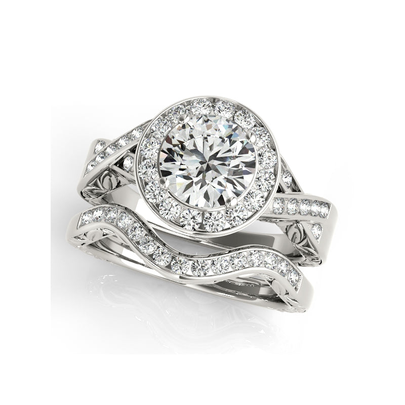 Twist Channel Halo Created White Diamond Bridal Ring Set