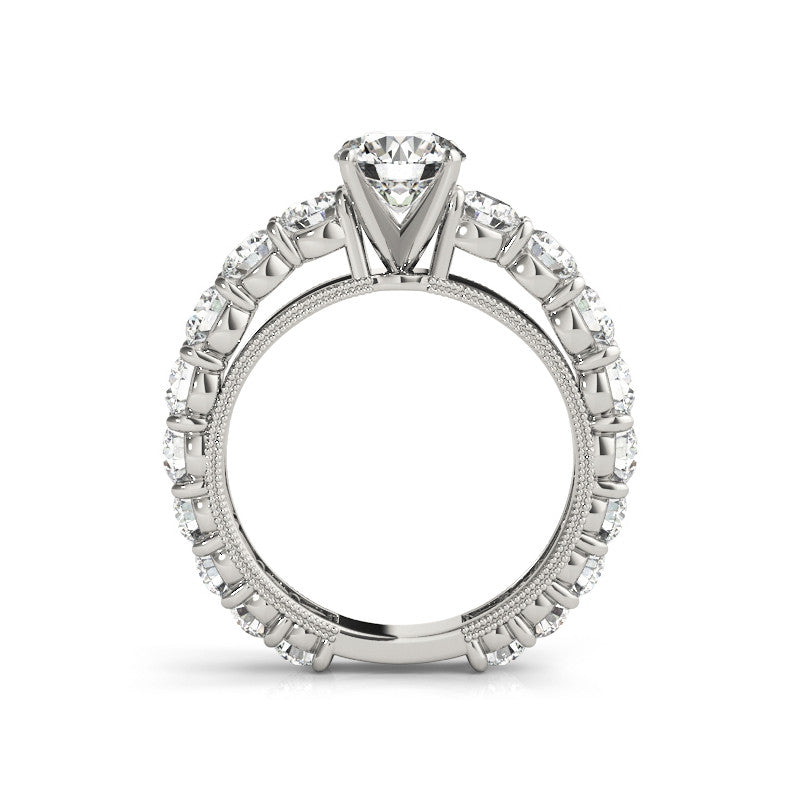 Classic Eternity Round Created Diamond Bridal Set Rings