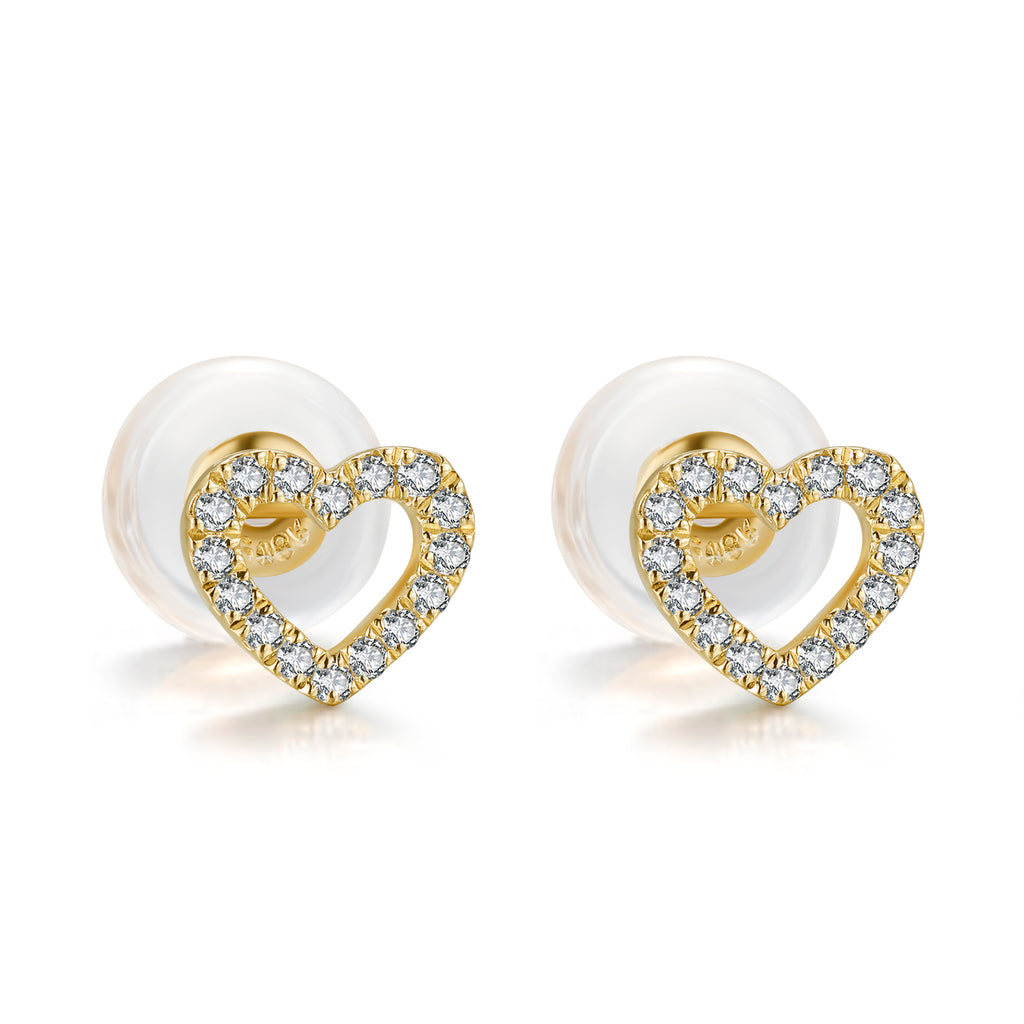 14K Solid Gold Heart Stud Earring Exclusively Handcrafted 0.087 Carat Natural Diamond (H-F Color, VS1-VS2 Clarity)