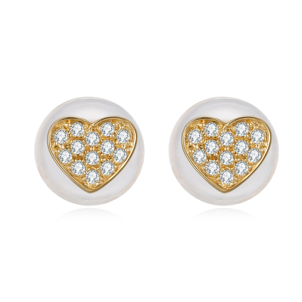 14K Solid Gold Heart Stud Earring Exclusively Handcrafted 0.049 Carat Natural Diamond (H-F Color, VS1-VS2 Clarity)