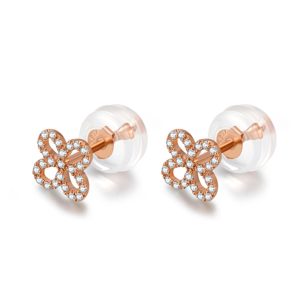14K Solid Gold Clover Stud Earring Exclusively Handcrafted 0.113 Carat Natural Diamond (H-F Color, VS1-VS2 Clarity)