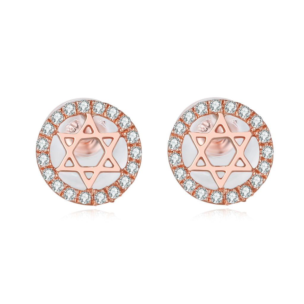 14K Solid Gold Pentagram Stud Earring Exclusively Handcrafted 0.079 Carat Natural Diamond (H-F Color, VS1-VS2 Clarity)
