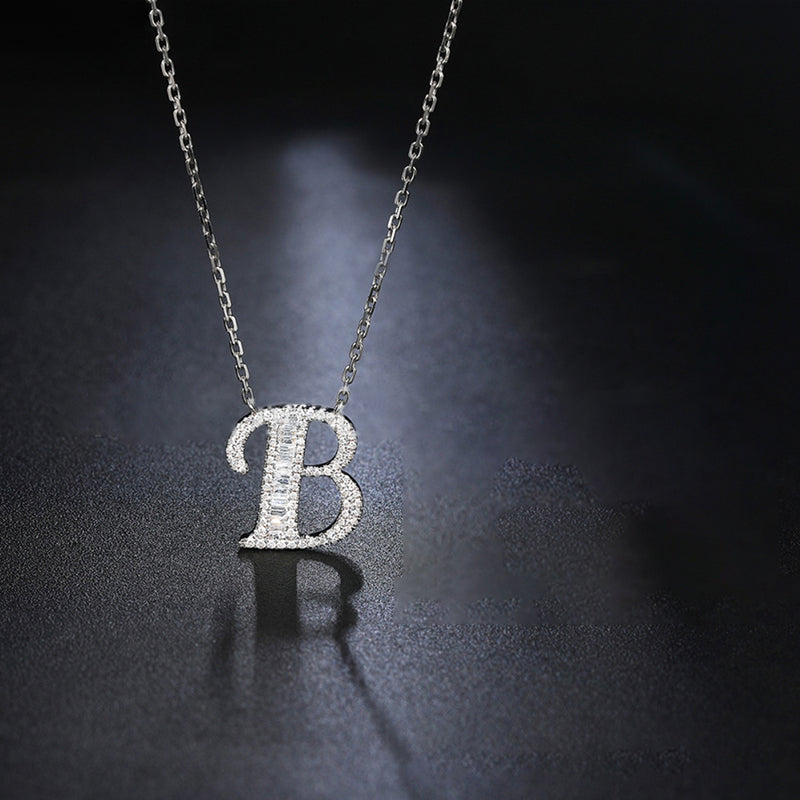 Letter B Created White Diamond Pendant Necklace