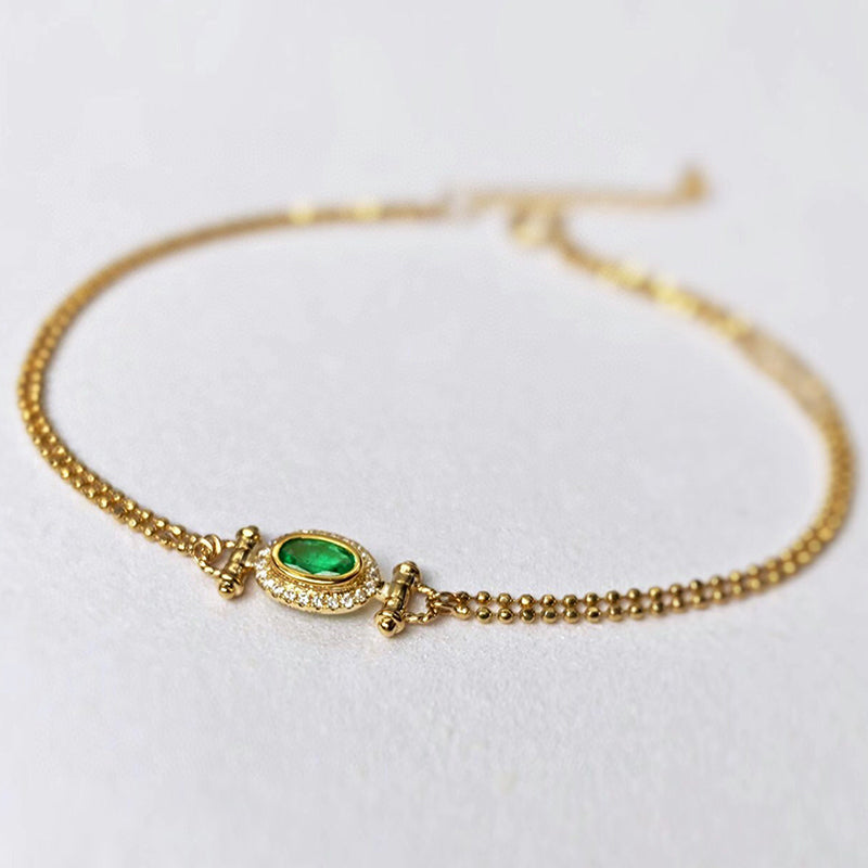 18K Gold Beads Chain 0.2ct Natural Emerald Vintage Bracelet Exclusively Handcrafted 0.07ct Natural Diamond (H-F Color, VS1-VS2 Clarity)