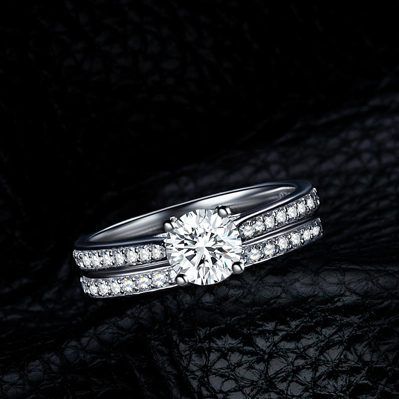 Round Cut Created White Diamond Bridal Ring Sets
