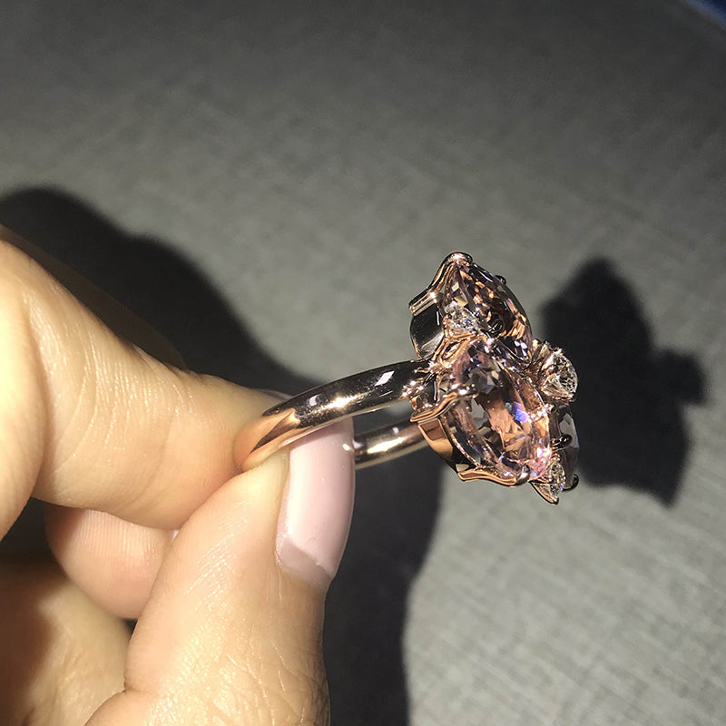 14K/18K Gold Oval Cut Morganite Three Stone Ring