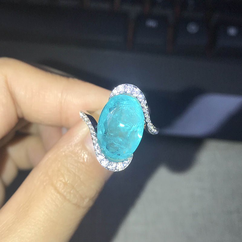 14K/18K Gold 8ct Oval Cut Lab Created Paraiba Twist Shank Ring