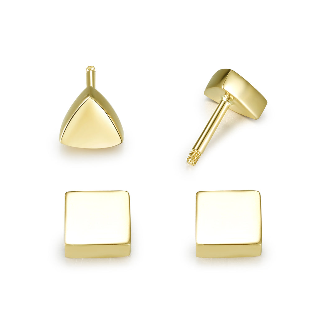 14K Solid Gold Stud Earrings Exclusively Handcrafted Double Side Square Triangle Shaped Earrings for Women