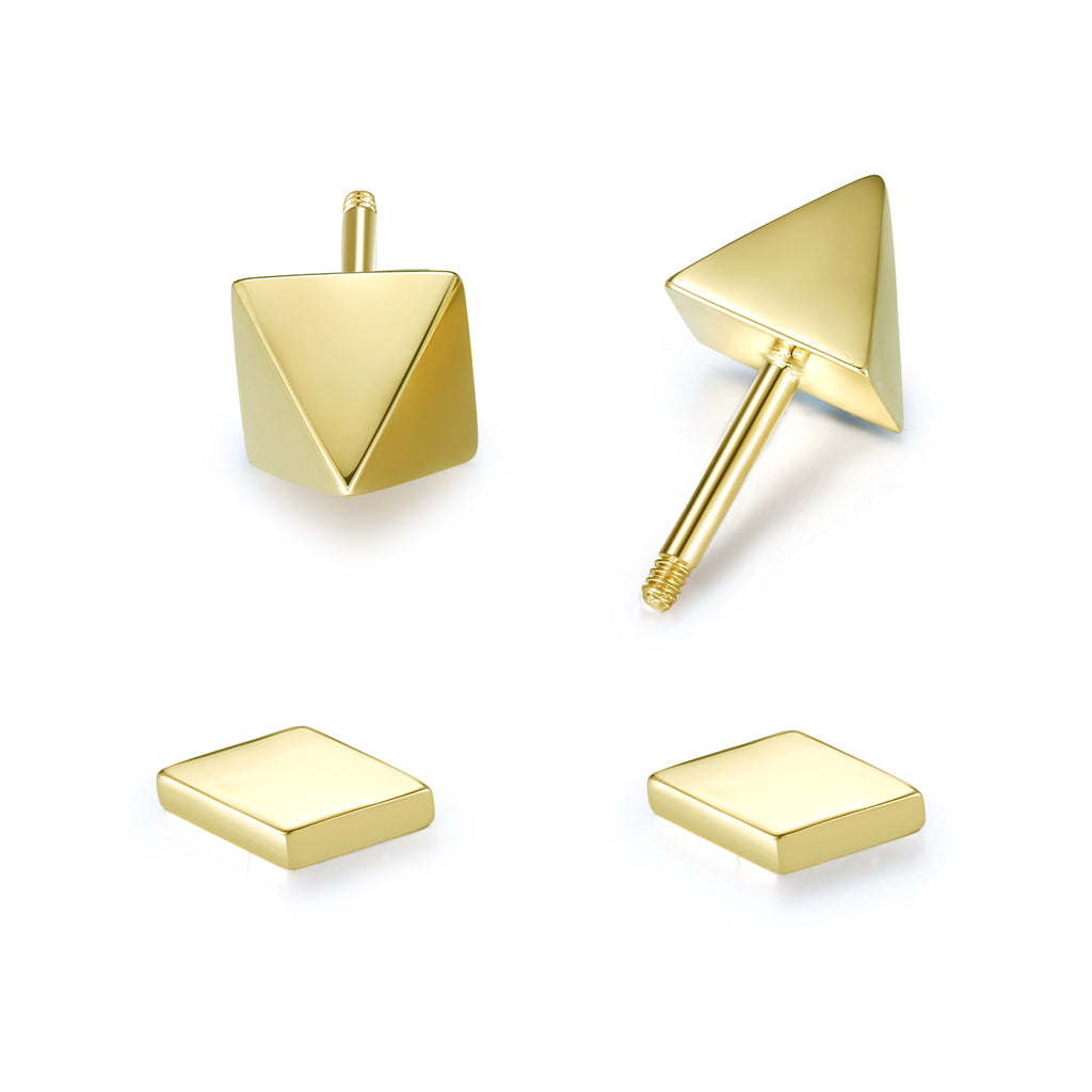 14K Solid Gold Stud Earrings Exclusively Handcrafted Double Side Earrings for Women