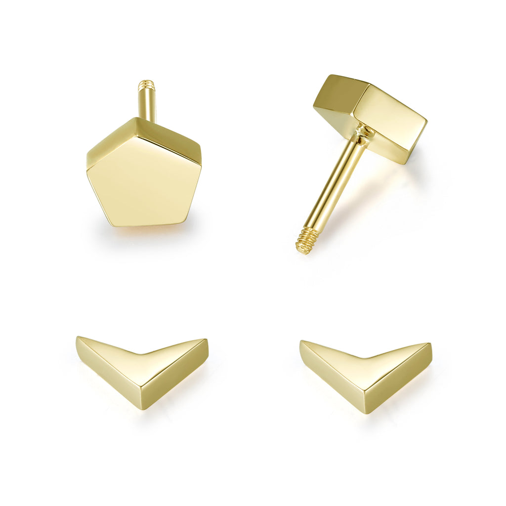 14K Solid Gold Stud Earrings Exclusively Handcrafted Double Side Five Square Shaped Earrings for Women