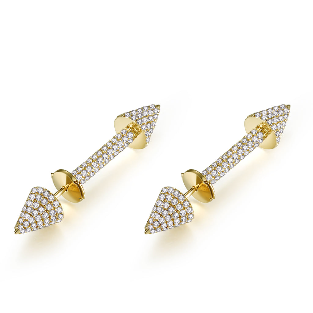 14K Solid Gold Arrowhead Stud Earrings Exclusively Handcrafted 1.727 Carat Natural Diamond (H-F Color, VS1-VS2 Clarity)