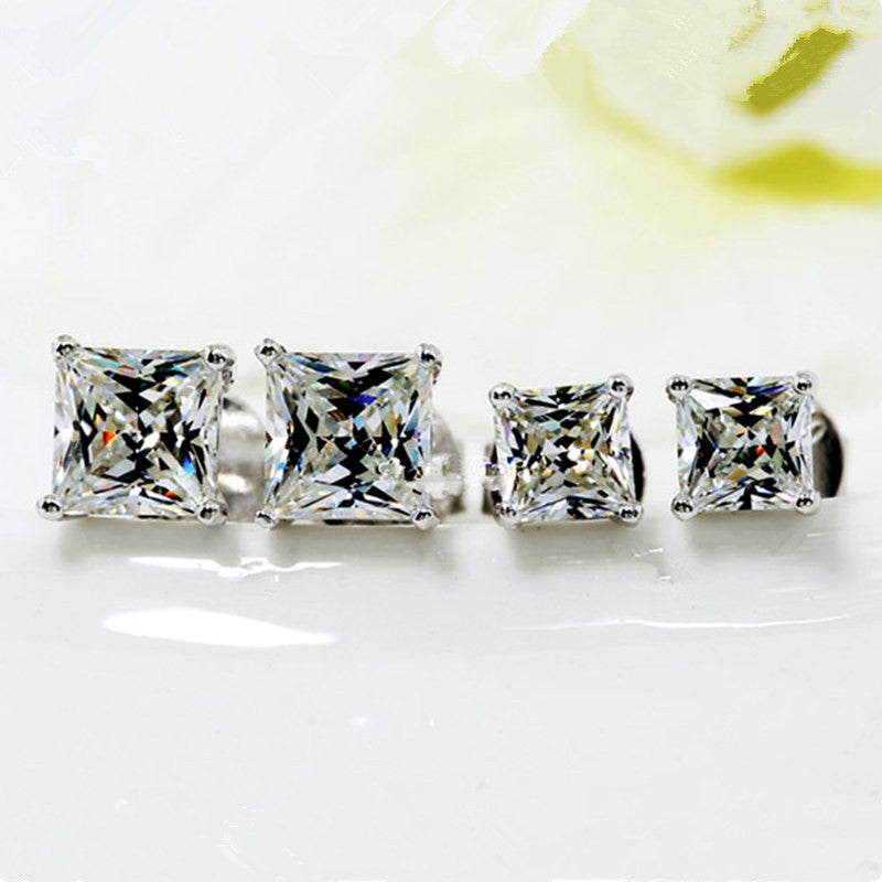 Trendy 3-10mm Princess Cut Stud Earrings
