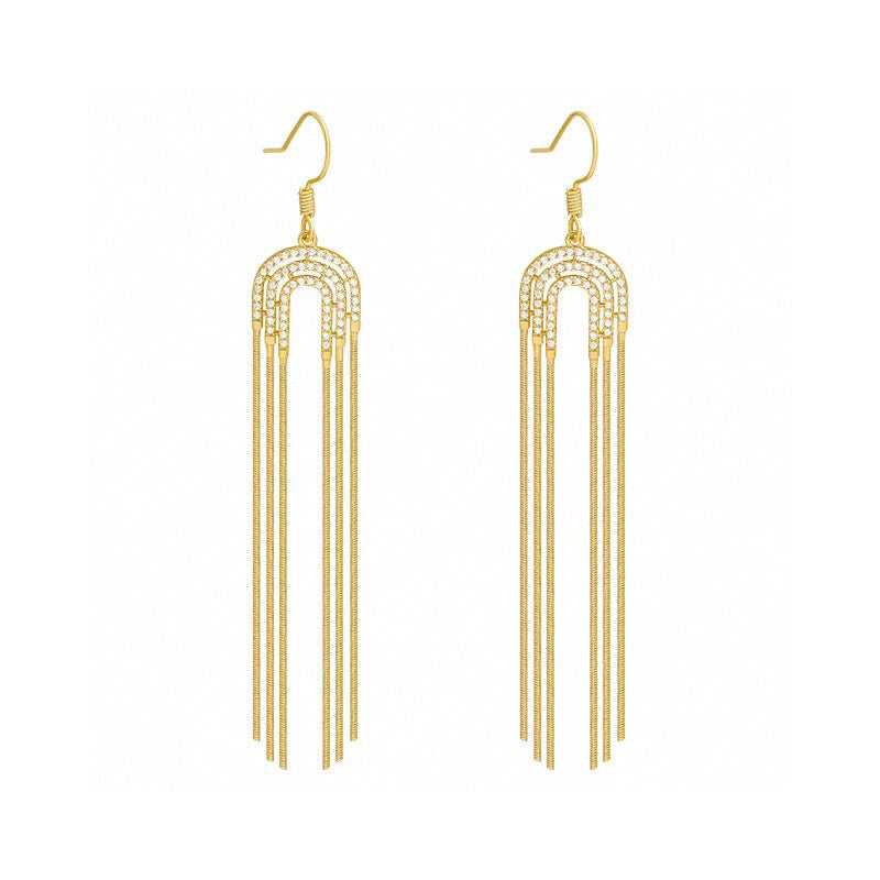 18K Gold 0.3ct Real Diamond Statement Hook Tassel Earrings