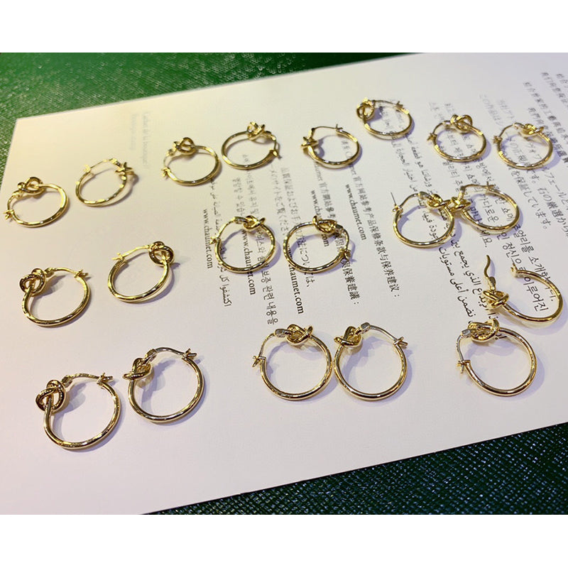 18K Gold Simple Round Knot Hoop Earrings