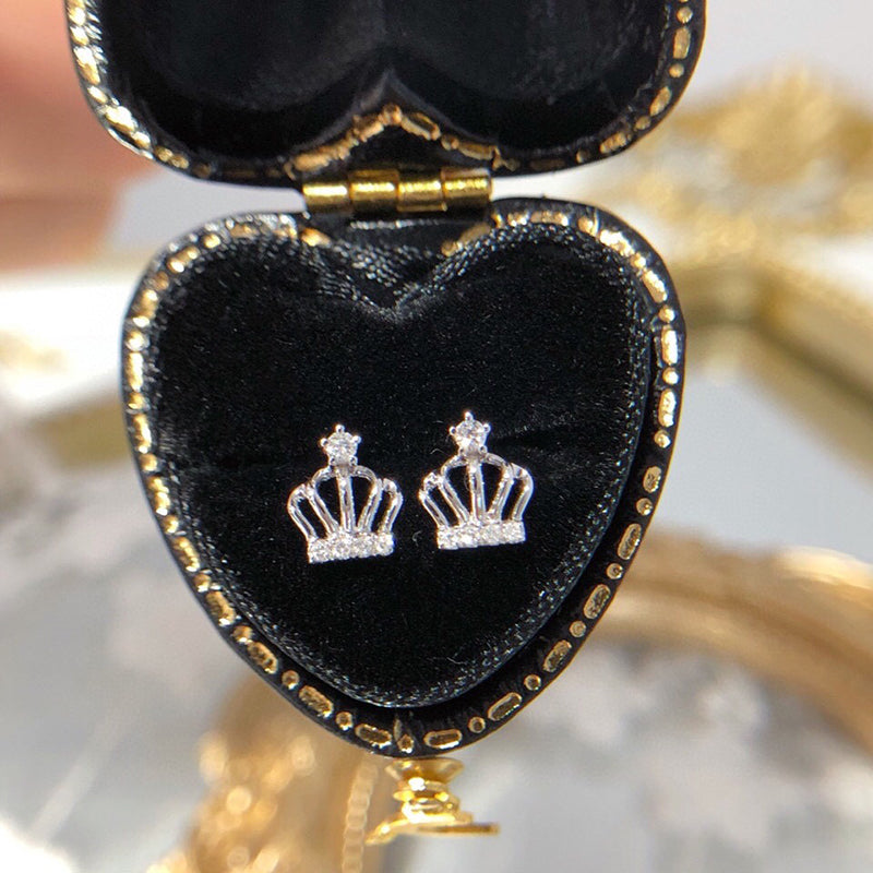 18K Gold 0.07ct Natural Real Diamond Crown Stud Earrings