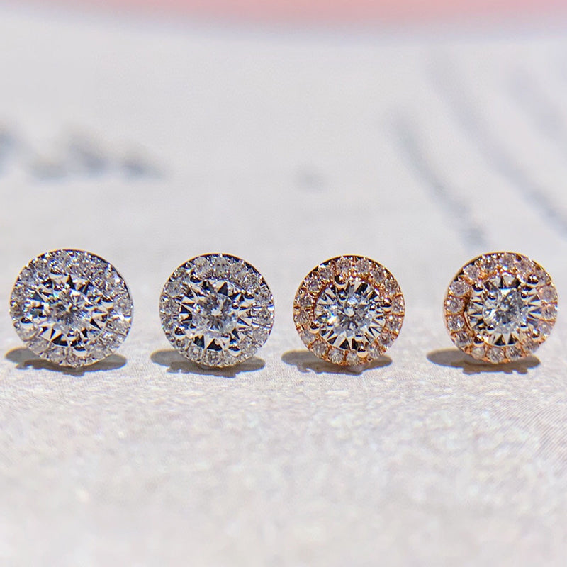 18K Gold 0.212ct Real Natural Diamond Halo Round Cut Classic Stud Earrings