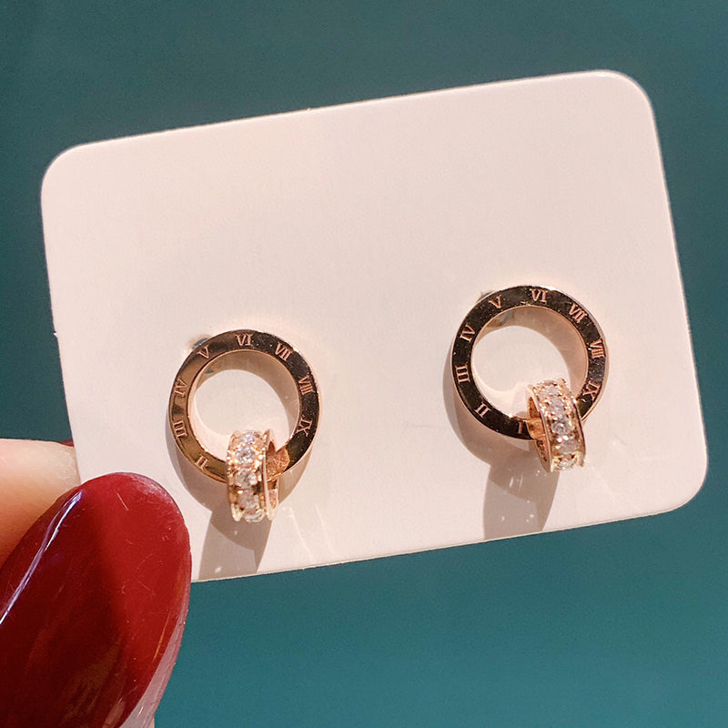 18K Gold 0.07ct Real Natural Diamond Roman numerals Stud Earrings  (H-F Color, VS1-VS2 Clarity)