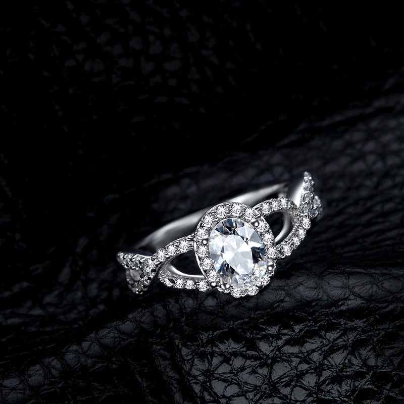 Halo Oval Created White Diamond Twisted Ring