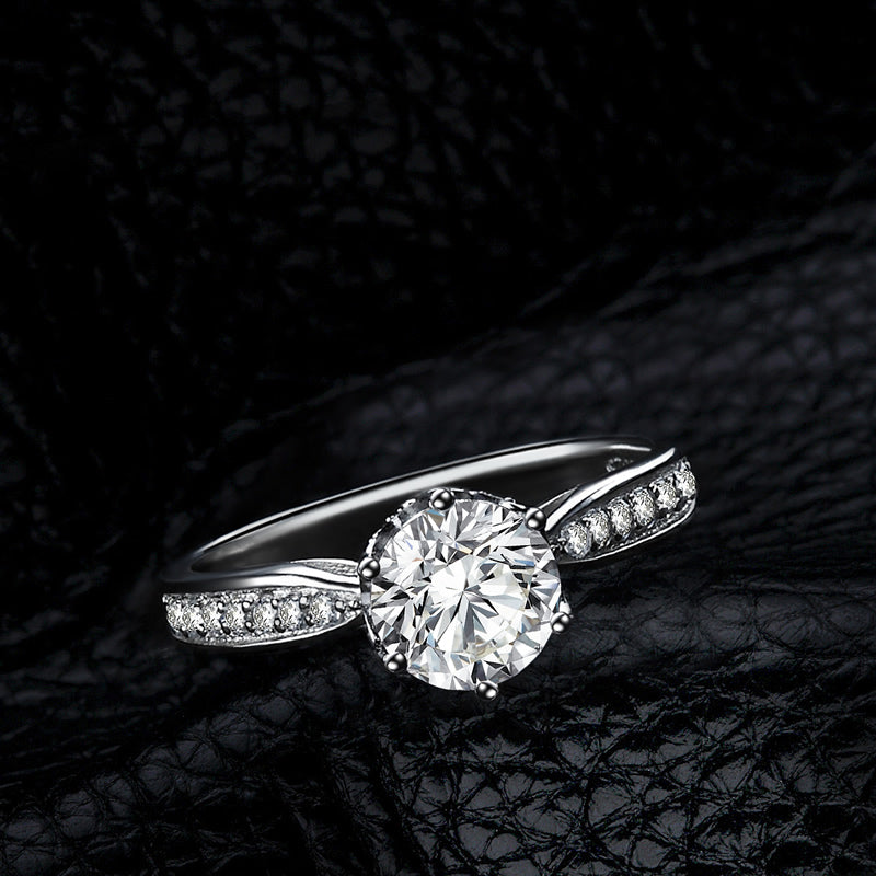 High Setting Round Moissanite Diamond Ring