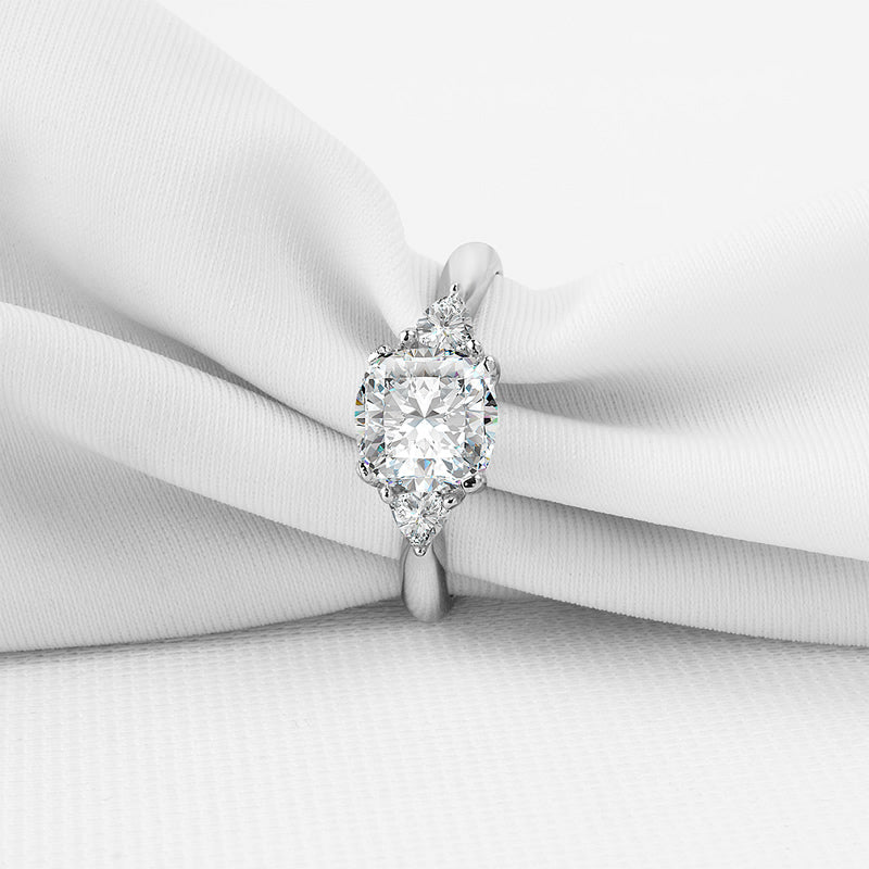 3-Stone Cushion Center Stone Created Diamond Ring