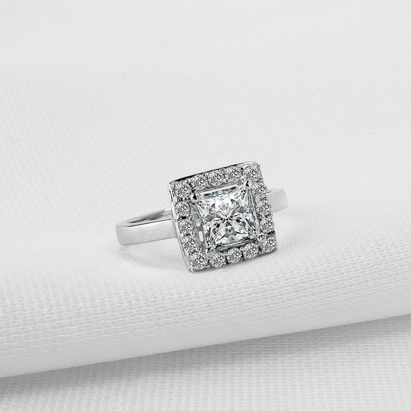 Princess Cut Moissanite Diamond Halo Ring