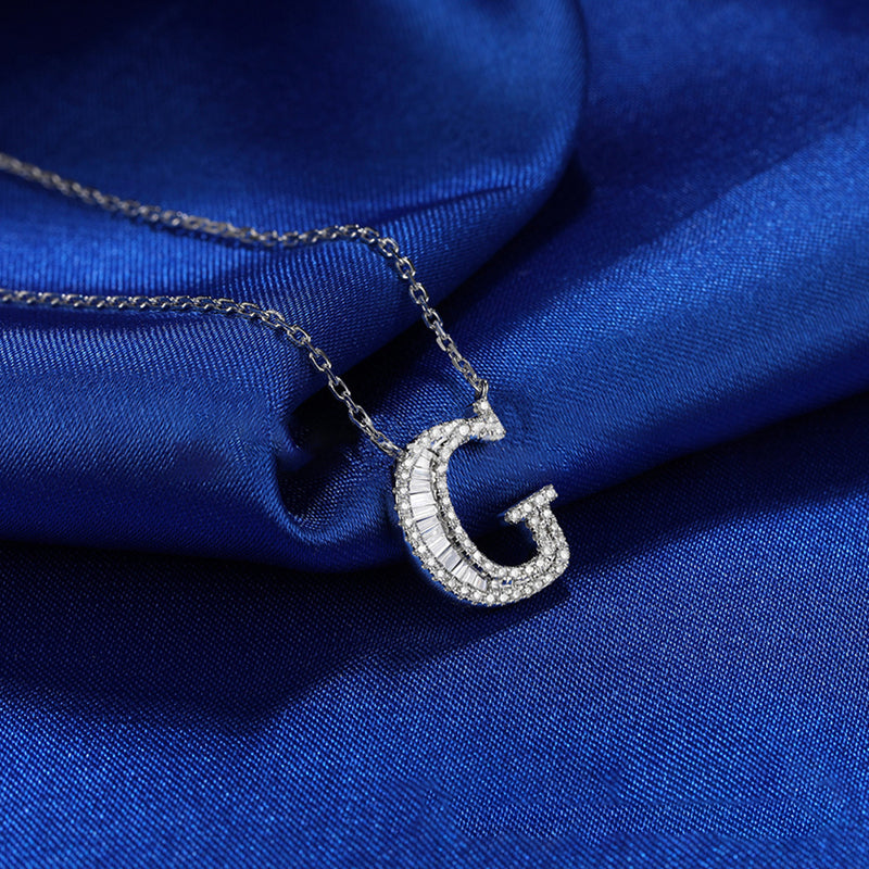 Letter G Created White Diamond Pendant Necklace