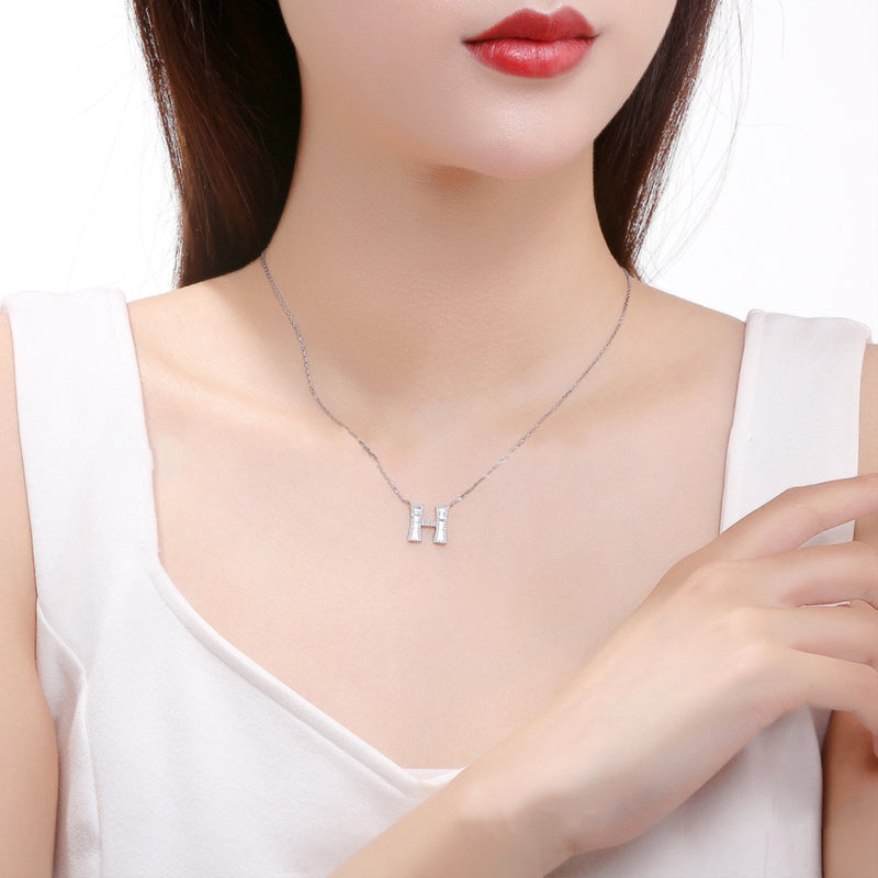 Letter H Created White Diamond Pendant Necklace