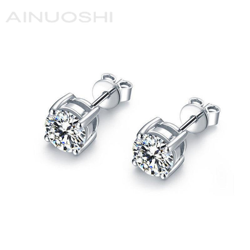 Four Prong Round White Created Diamond Stud Earrings