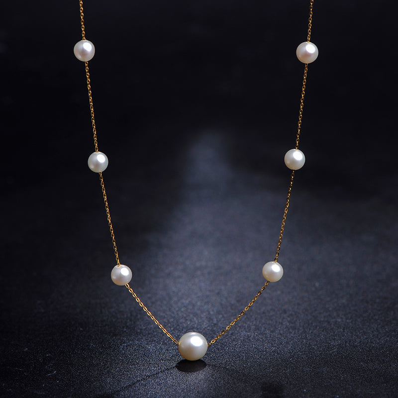 18K Gold Chain Genuine Round Cultured Freshwater Pearl Necklace