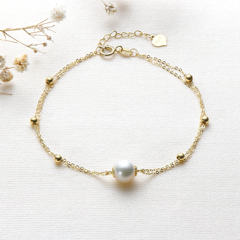 18K Yellow Gold Freshwater Pearl Double Chain