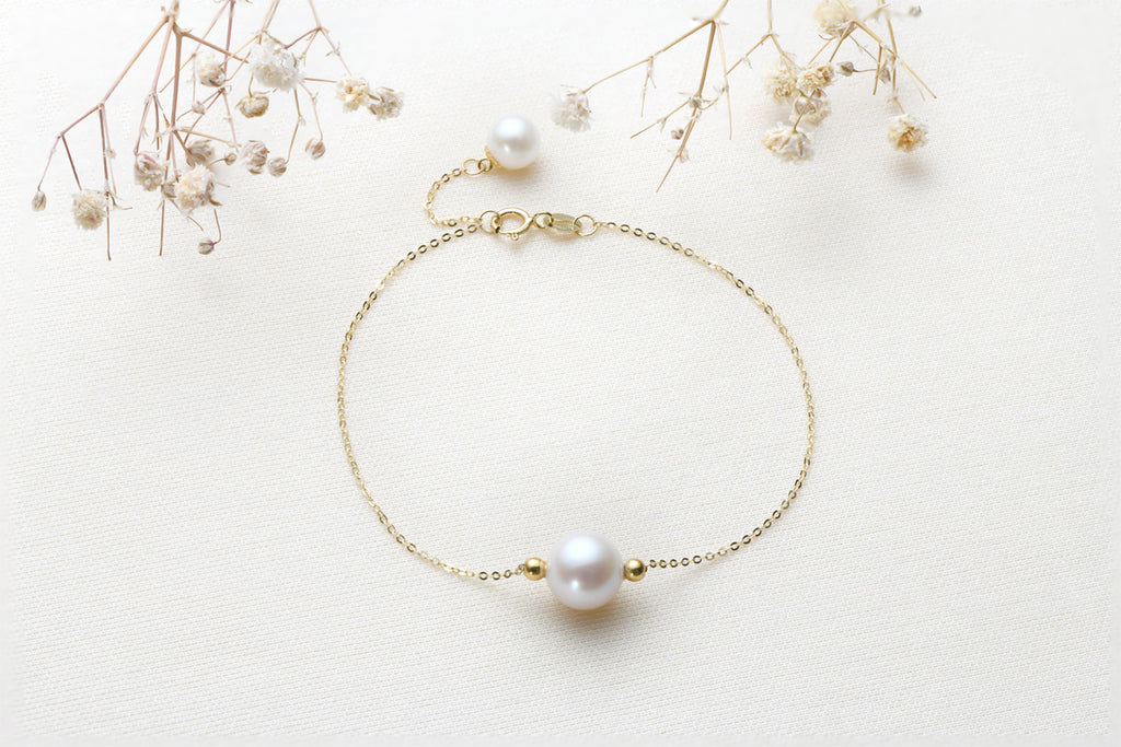 2 Small Beads 18K Yellow Gold Freshwater Pearl Bracelets