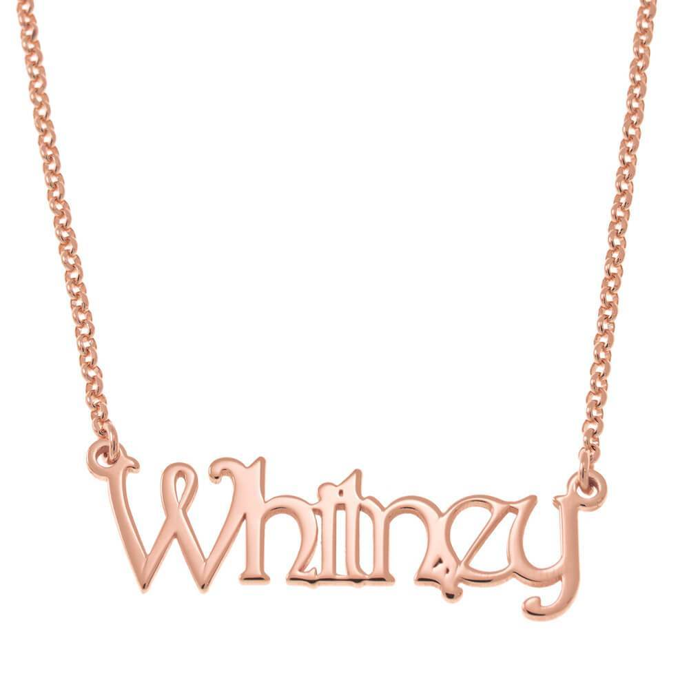 "Personalized Name Necklace 18K Rose Gold Plating with Chain 14-22"" Gifts for Girls Daughter"
