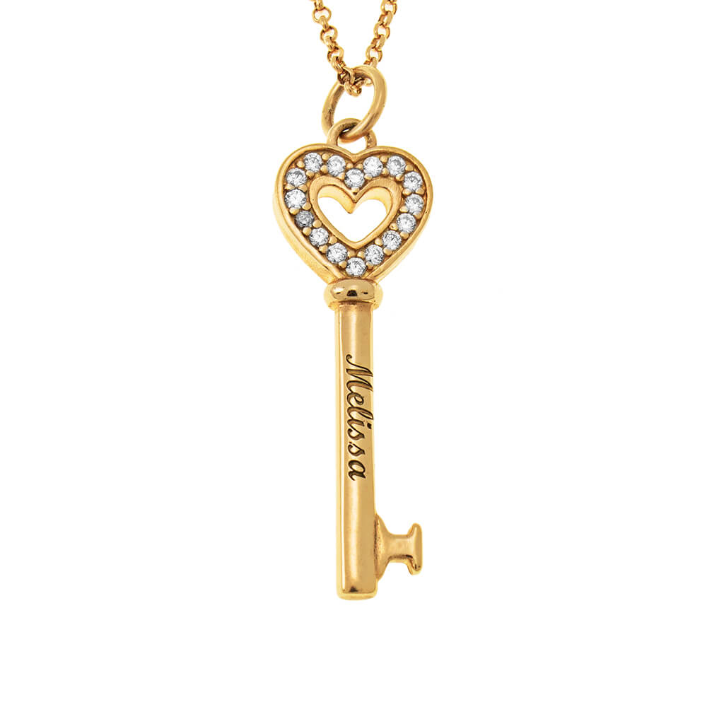 Heart And Key Necklace 925 Sterling Silver