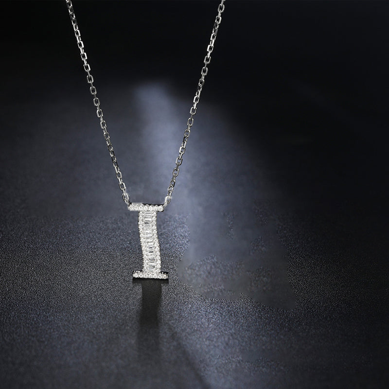 Letter I Created White Diamond Pendant Necklace
