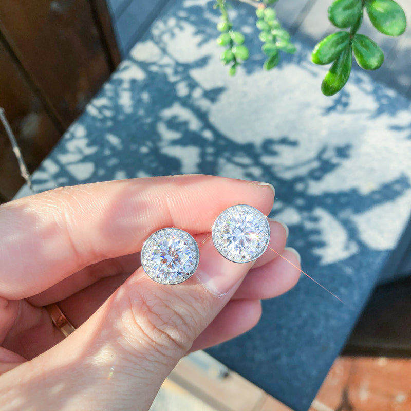 Halo Round Created White Diamond Stud Earrings