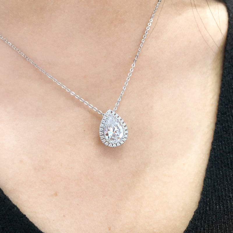 Pear Shaped Created White Diamond Pendant Necklace
