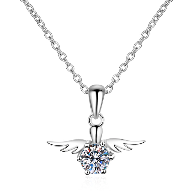 Round Cut Moissanite Diamond Wings shape Pendant Necklace