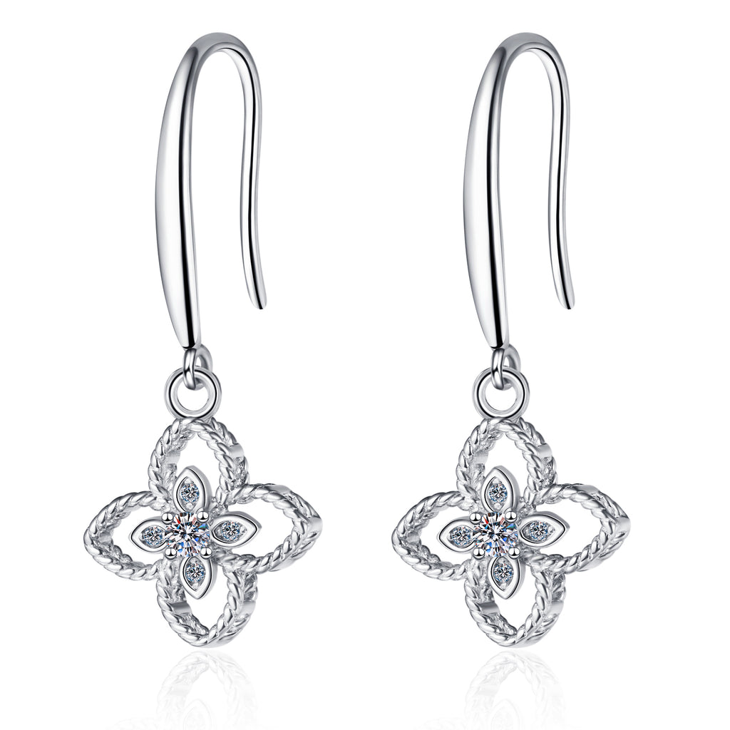 Round Cut Moissanite Diamond Clover Ear Hook Earrings