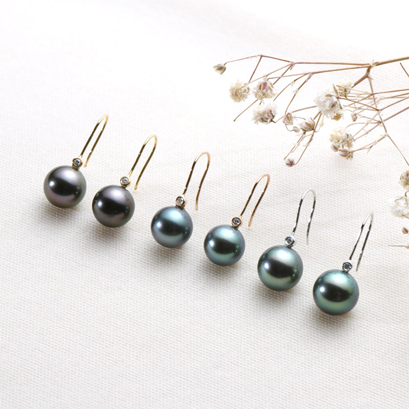 Real Diamond Tahitian Black Pearl 18K Gold Hook Earring